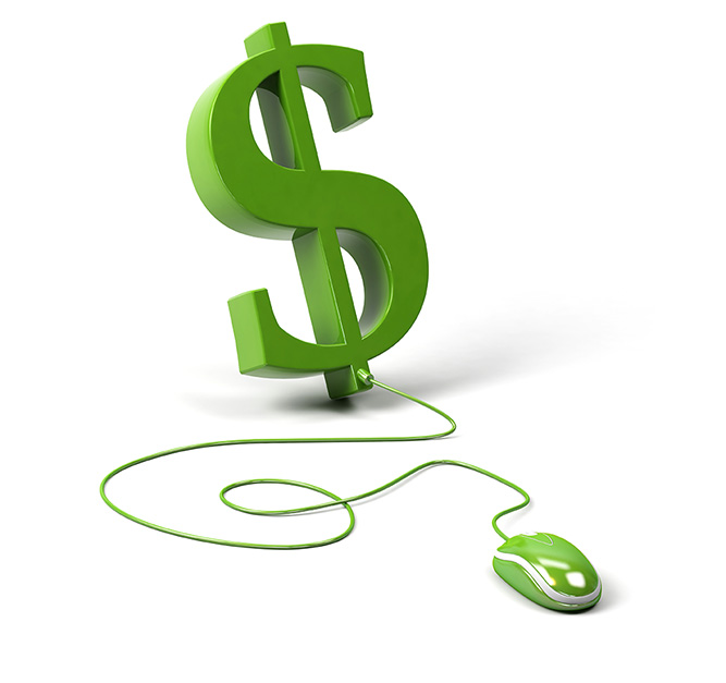Dollar symbol connected to a computer mouse