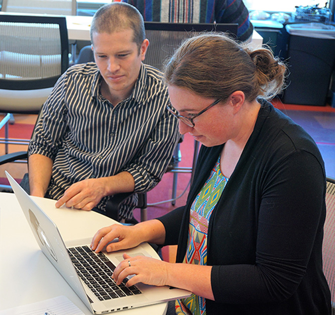 eScience data scientist working with a student