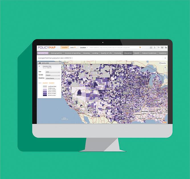 Desktop with screenshot of PolicyMap