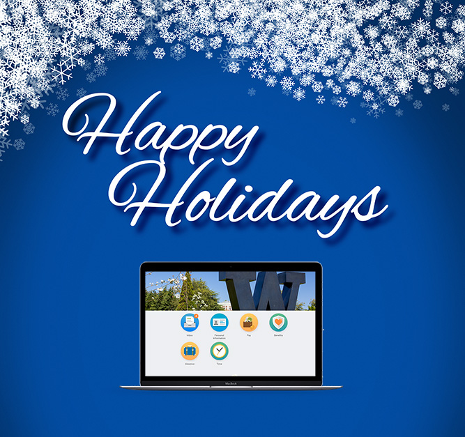 Happy Holidays message above laptop