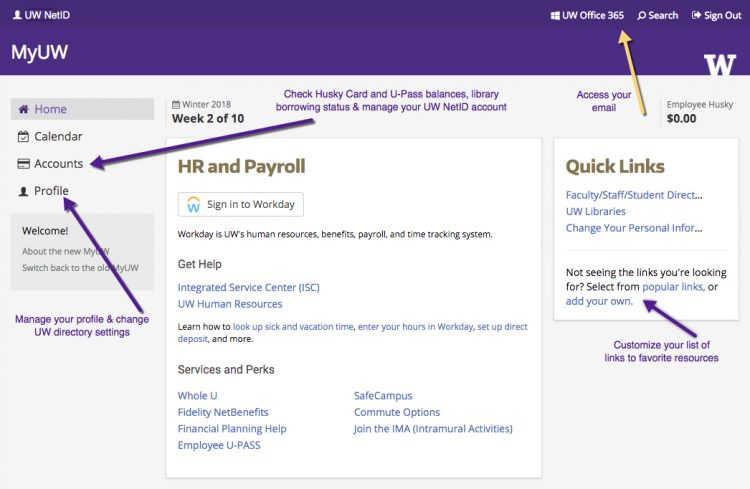 MyUW home page annotated