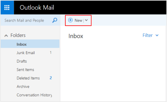 Compose new email. In the upper left corner of Outlook Mail, click New