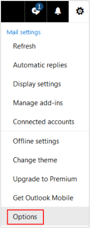 Options menu in Outlook.com