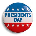 Presidents Day lapel pin image graphic red blue and white with white stars.