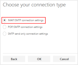 Choose connection type page, IMAP/SMTP settings selected