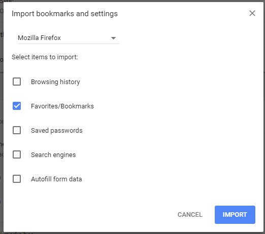 Import bookmarks from Firefox in Chrome brower.