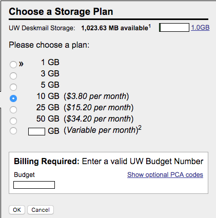 Choose a free storage plan (5GB or less). At the bottom of the page, click OK.