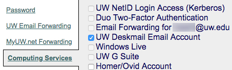 6) Select the check box next to UW Deskmail Email account, and press unsubscribe