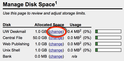 Under Manage Disk Space, to the right of UW Deskmail, click change