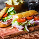 Italian hoagie with ham and vegetables