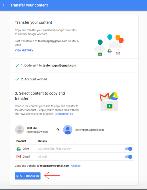 Gmail interface with Start Transfer button