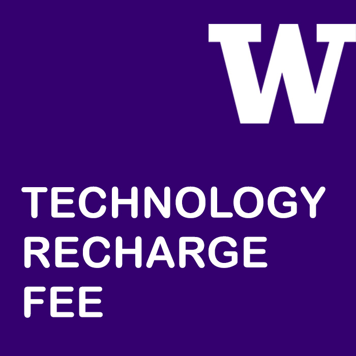Technology Recharge Fee written in purple square