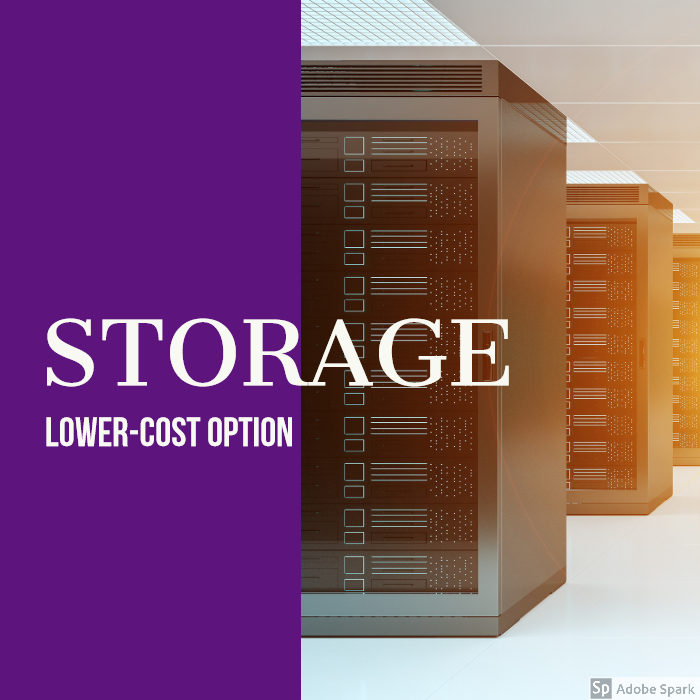 servers and storage, lower-cost option written across photo