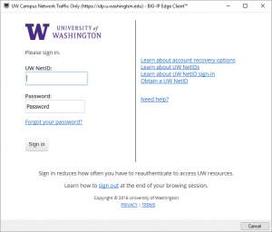 UW NetID login screen