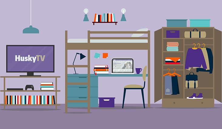 Animated picture of a dorm room with a television. The television says