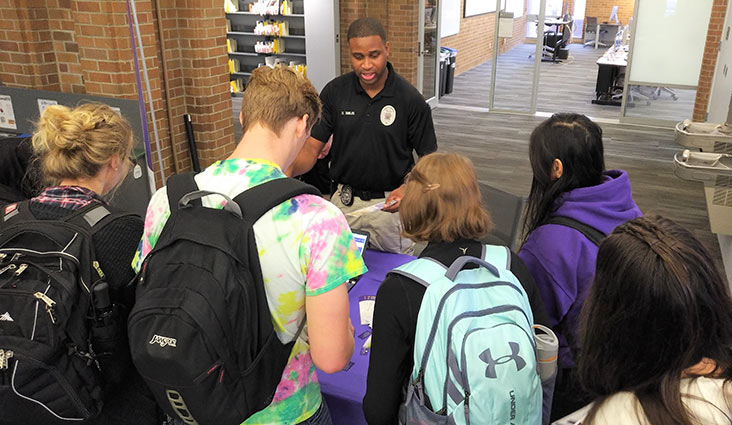 Students attend the student technology expo at the UW