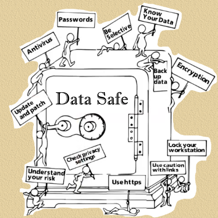 screenshoot from video with data safe on a safe and little characters holding signs with the 12 computing tips