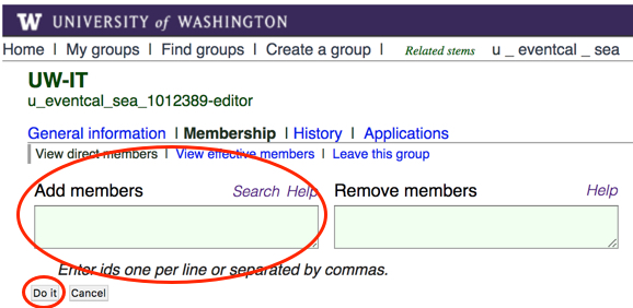 """Add members"" field in UW Groups interface"