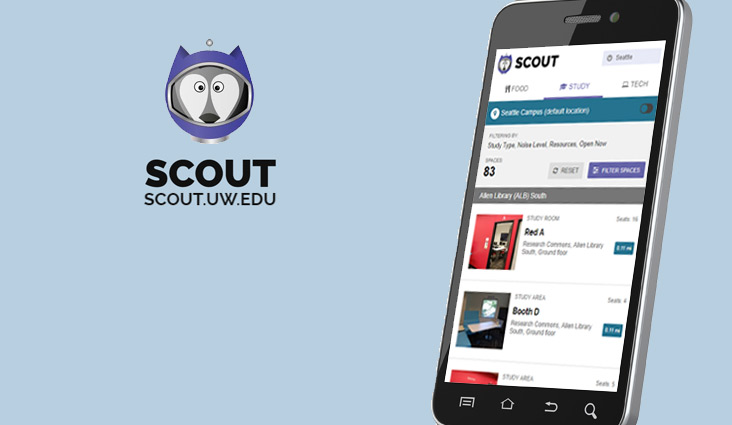 Scout logo and a cell phone showing the Scout mobile app