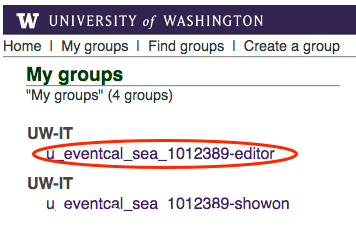Editor group highlighted with red circle in list of My groups