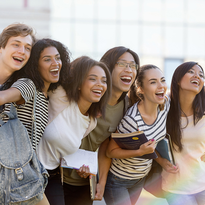 Picture of multiethnic group of young happy students