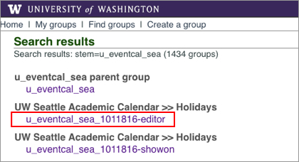 UW groups interface showing an editor group ID