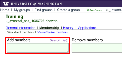Add members field in UW Groups interface