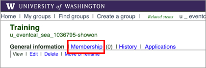UW Groups interface with Membership link highlighted