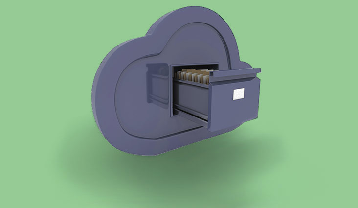 A file cabinet shaped like a cloud