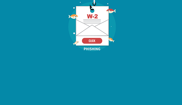Animated image of a W-2 form on fishing line with gold fish nibbling the document. The word phishing appears below the image.