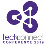 Logo for TechConnect (three cirlces connected by dots and a triangle through them) and TechConnect Conference 2019 written under the logo