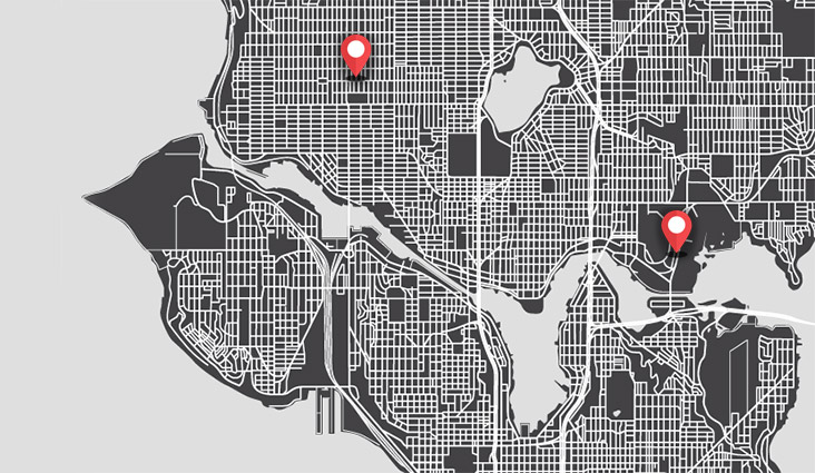 A map of seattle with a location marker on campus and another away from campus.