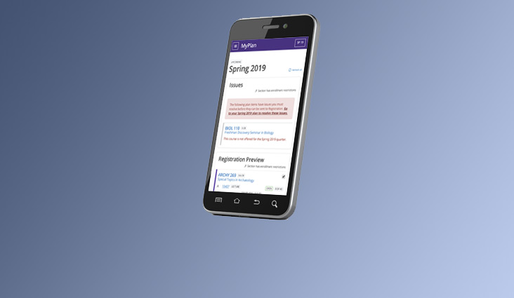 A cell phone showing the MyPlan Registration Preview functionality.