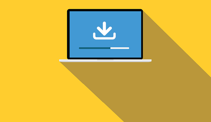 Animated image of a laptop downloading a file.