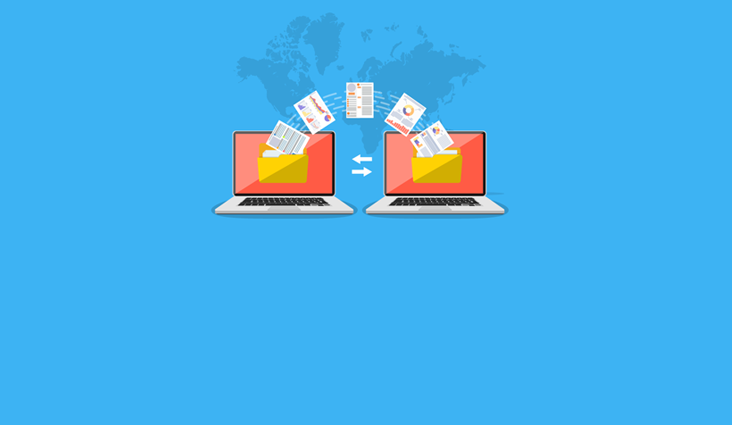Animated image of two laptops transferring data between them.