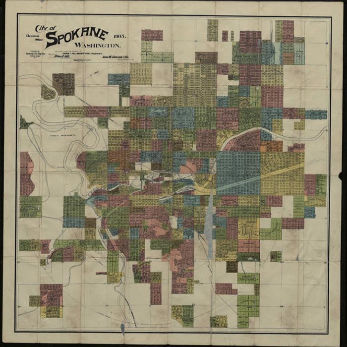 A land plan of Spokane, Washington