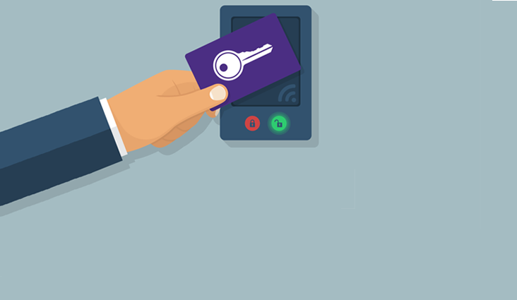 Animated image of a hand waving an access card over a card reader.