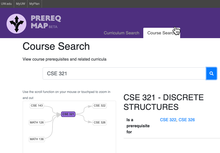 Course search mode in Prereq Map, showing prerequisites to CSE 321 and courses that can follow CSE 321