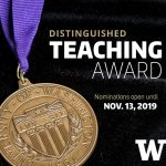Bronze medal on a ribbon with Distinguished Teaching Award call for submissions by Nov. 13, 2019 in text