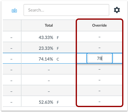 Override column added to far right of New Gradebook, highlighted with red outline