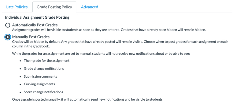 New Gradebook Grade Posting Policy dialog box with Manual option selected