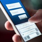 Login screen in app or website in smartphone. Username, password