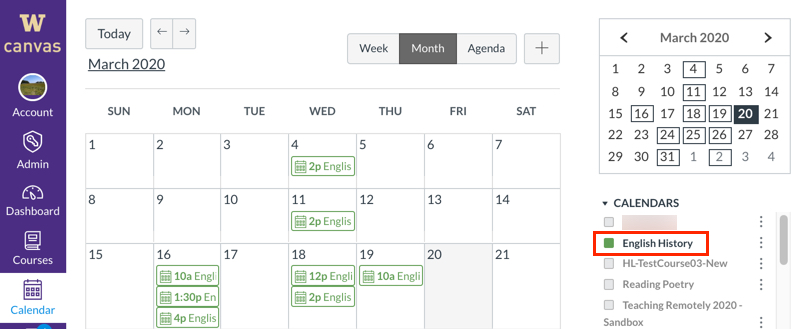 Canvas Calendar, with scheduled class sessions showing
