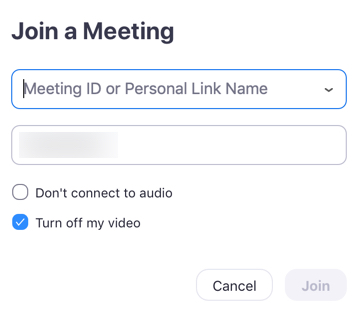 Join meeting screen where user enters meeting ID