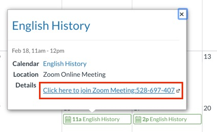 When user clicks calendar event, link appears. This image shows meeting link highlighted in calendar event.