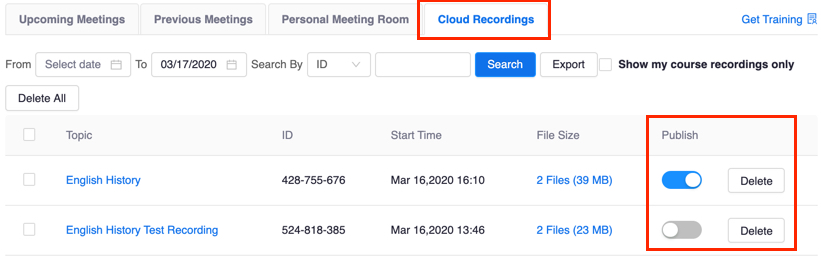 List of recordings on Cloud Recordings tab, with Share and Delete buttons highlighted
