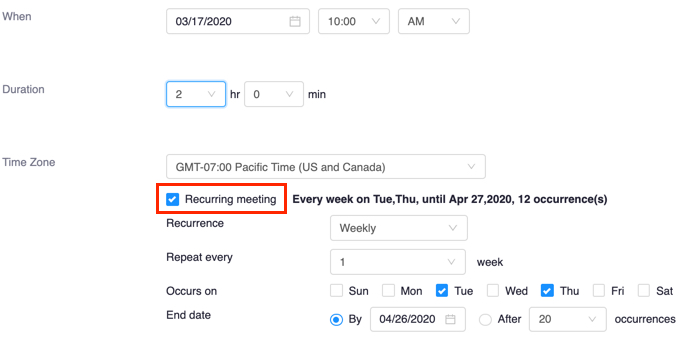 Schedule meeting screen with Recurring meeting checkbox highlighted and selected