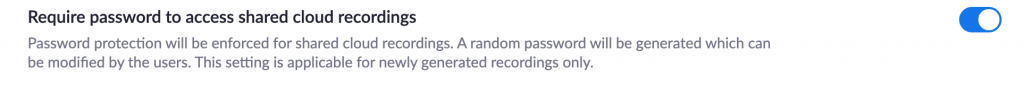 password protect cloud recordings