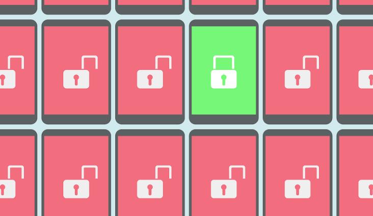 Animated image of many locked smartphones and one unlocked smartphone.
