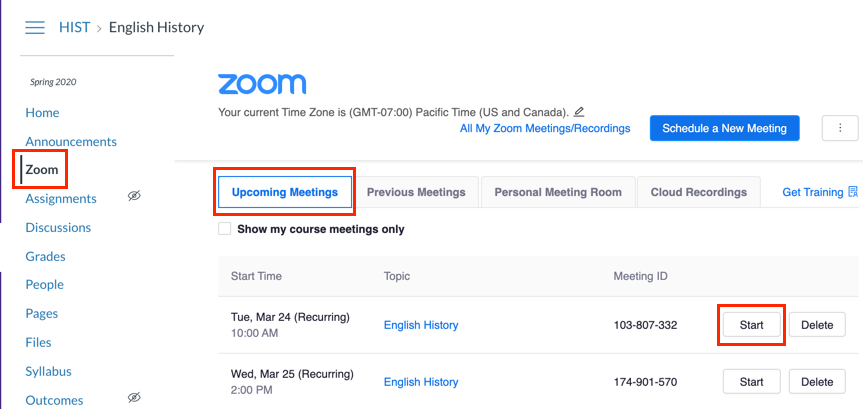 Upcoming Meetings tab with Start button highlighted